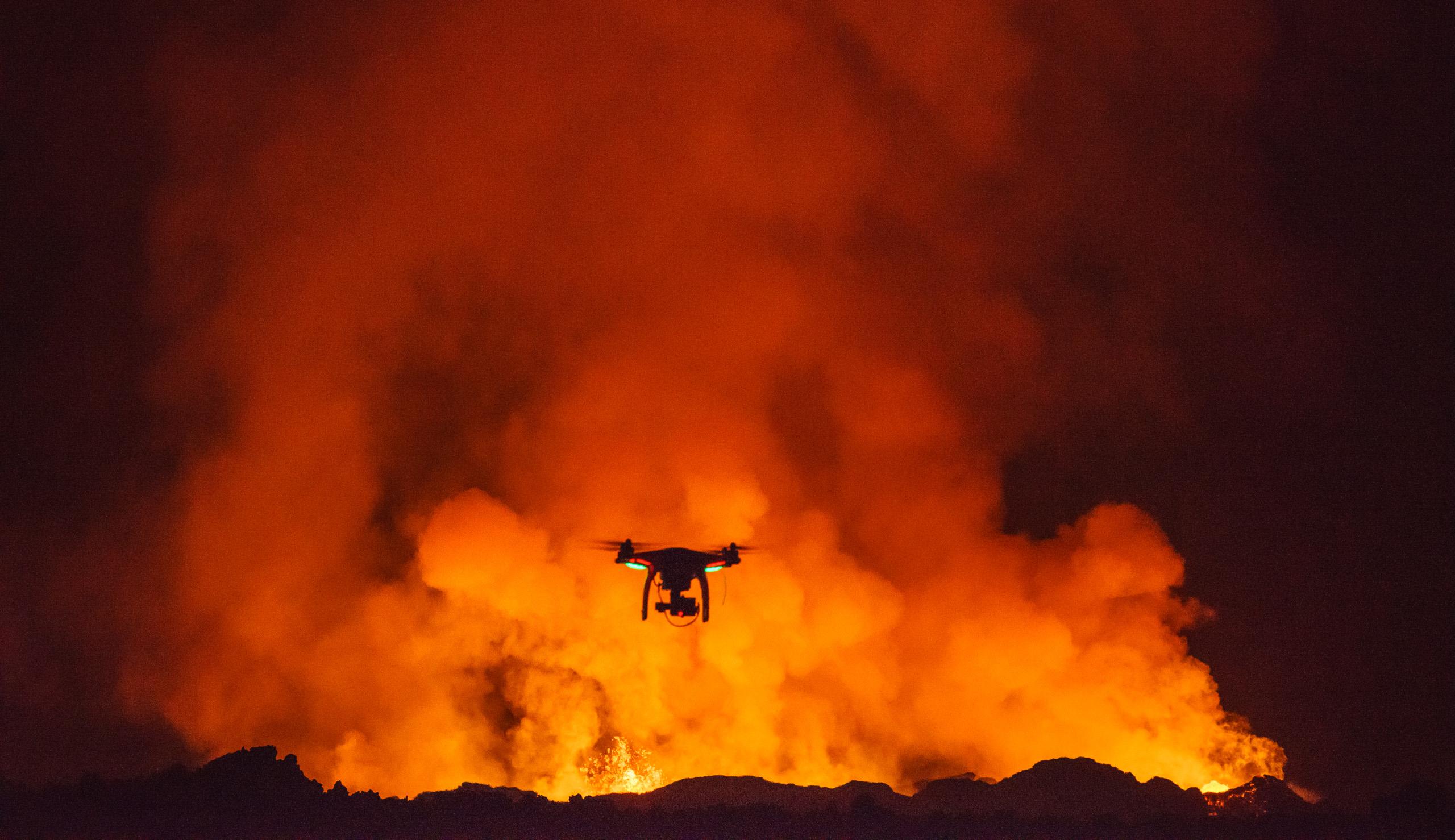A DJI Phantom 2 flying near the Holuhraun volcano eruption, Bardarbunga volcanic system, Iceland.